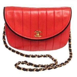 91e81910066c Chanel Red Lambskin Leather Stripe Round Flap Bag